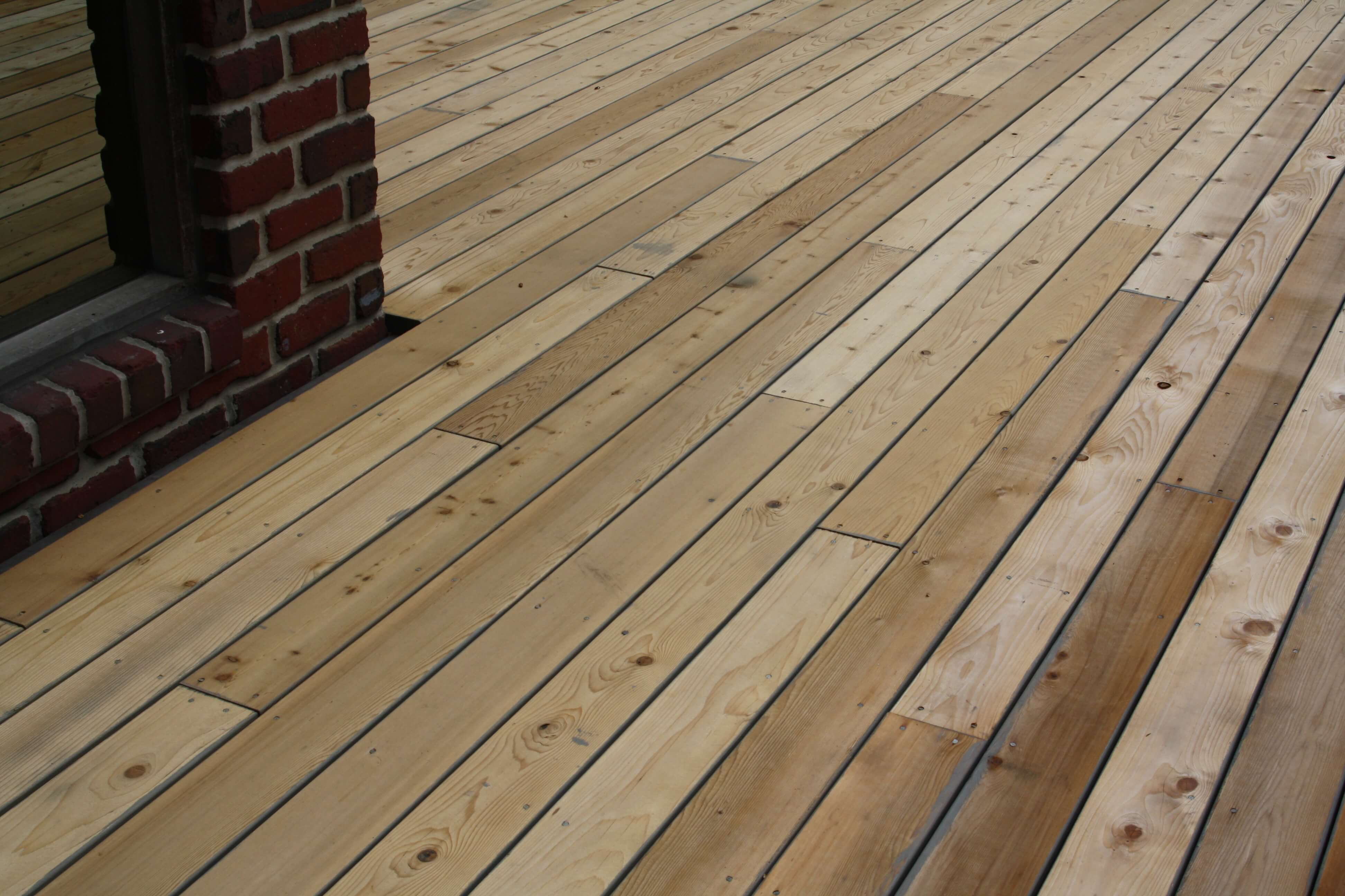 Deck boards that have been freshly sanded