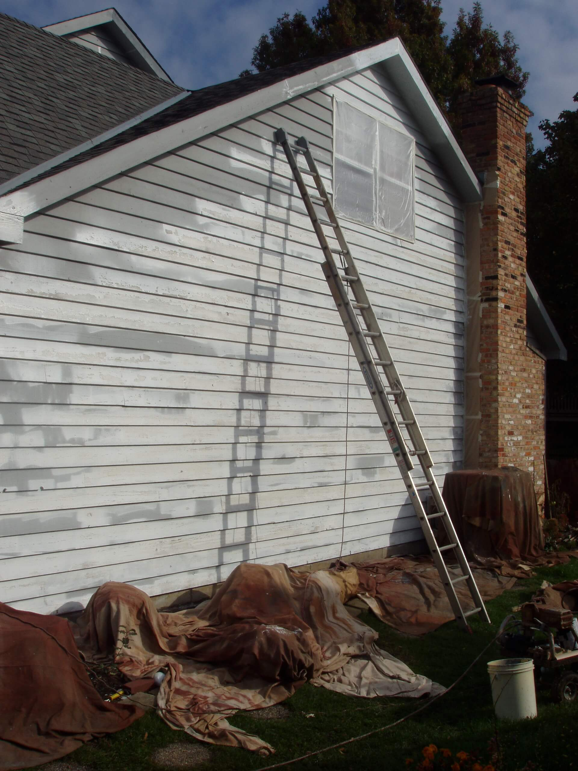 Ladder leaning against the side of a house that has been primed for painting